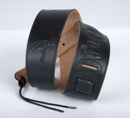 Fender Black Leather Guitar Strap, 0990662-006